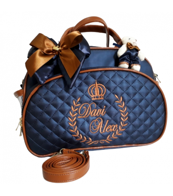 Bolsa Maternidade G Azul Marinho c/ Detalhes Caramelo