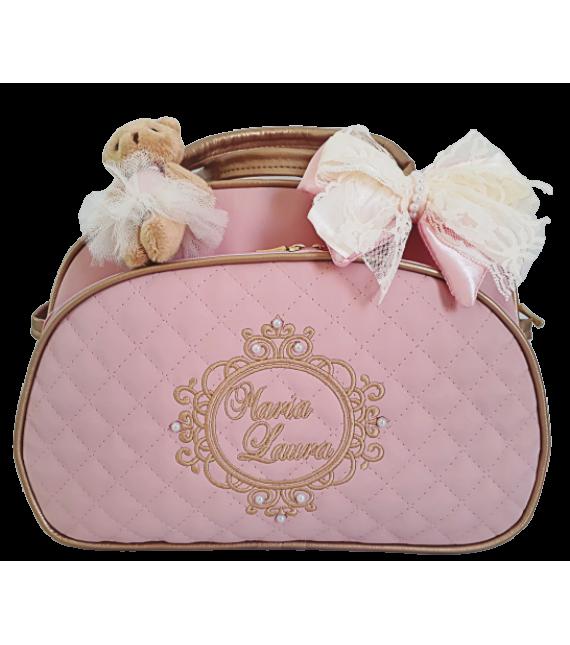 Bolsa Maternidade G Rosa c/ Detalhes Ouro