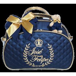 Bolsa Maternidade G Azul Marinho c/ Detalhes Ouro