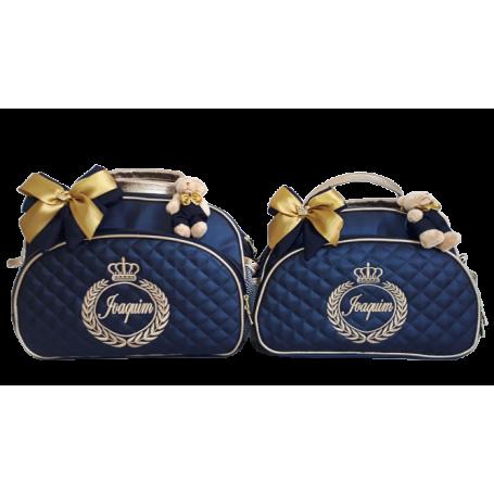 Kit Bolsa G + Bolsa M Azul Marinho c/ Detalhes Ouro