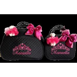 Kit Bolsa G + Frasqueira Térmica  Preta c/ Detalhes Pink