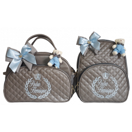 Kit bolsa G + Mochila G Cinza c/ Detalhes Azul Bebe