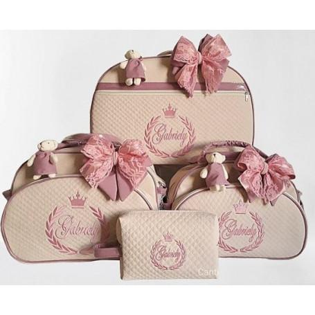 Kit Mala Maternidade + Bolsa G + Bolsa M Bege C/ Rosa Antigo