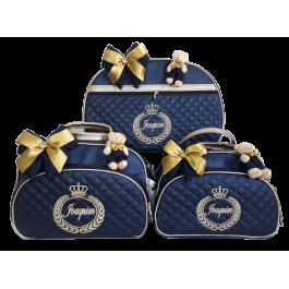 Kit Mala Maternidade + Bolsa G + Bolsa M Azul Marinho c/ Detalhes Ouro