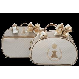 Kit Mala Maternidade + Bolsa G Bege c/ Detalhes Ouro