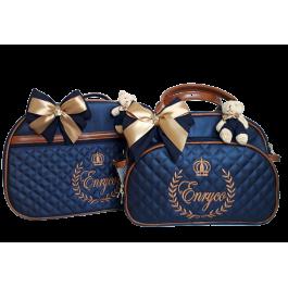 Kit Mala Maternidade + Bolsa G Azul Marinho c/ Detalhes Caramelo