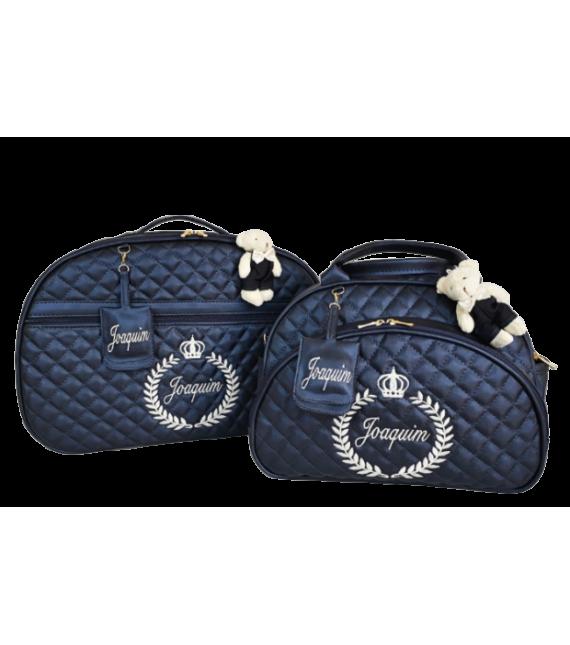 Kit Mala Maternidade + Bolsa G Azul Marinho c/ Bordado Bege Claro