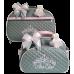 Kit Mala Maternidade + Bolsa G Cinza c/ Detalhes Rosa
