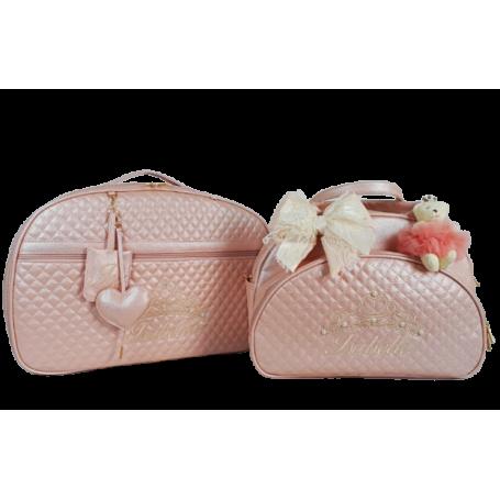 Kit Mala Maternidade + Bolsa G Rosé Perolizado