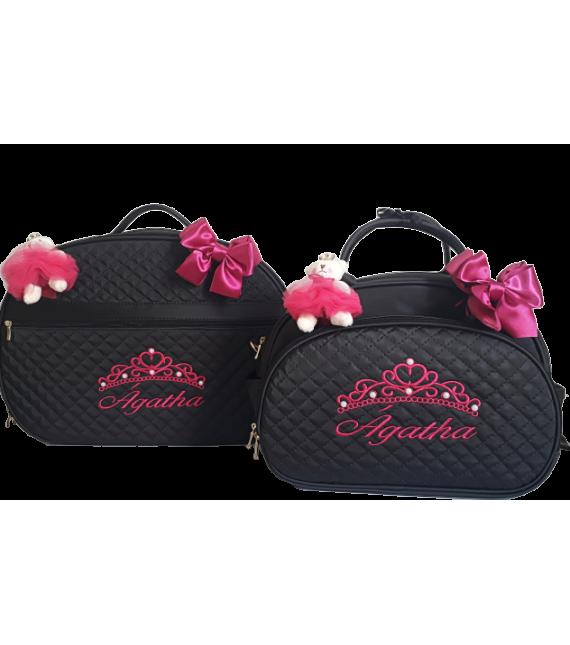 Kit Mala Maternidade + Bolsa G Preta c/ Detalhes Pink