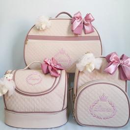 Kit Mala Maternidade + Frasqueira Baú + Mochila G Bege c/ Detalhes rosa Antigo