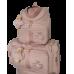 Kit Mala Maternidade  Valentine + Mochila 2 em 1  Linho Rose com Fitas de Algodão Rose