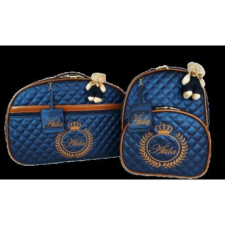 Kit Mala Maternidade + Mochila G Azul Marinho c/ Detalhes Caramelo