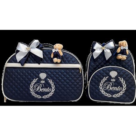 Kit Mala Maternidade + Mochila G Azul Marinho c/ Detalhes Cinza Claro
