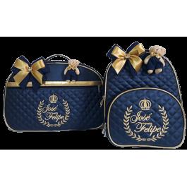 Kit Mala Maternidade + Mochila G Azul Marinho c/ Detalhes Ouro