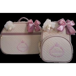 Kit Mala Maternidade + Mochila G Bege c/ Detalhes Rosa Antigo