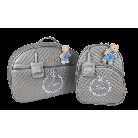 Kit Mala Maternidade + Mochila G Cinza c/ Bordado Azul Bebê