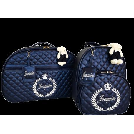 Kit Mala Maternidade + Mochila G Azul Marinho c/ Bordado Bege Claro