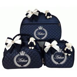 Kit Mala Maternidade + Bolsa G + Frasqueira Térmica Azul Marinho c/ Bordado Bege Claro