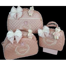 Kit Mala Maternidade + Bolsa G + Frasqueira Térmica Rosé Gloss