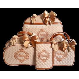 Kit Mala Maternidade + Bolsa G + Frasqueira Térmica Bege Areia c/ Detalhes Caramelo