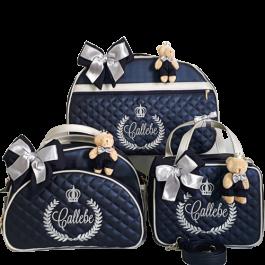 Kit Mala Maternidade + Bolsa G + Frasqueira Térmica Azul Marinho c/ Detalhes Cinza Claro