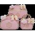 Kit Mala Maternidade + Bolsa G + Frasqueira Térmica Rosa Bebê c/ Detalhes Ouro