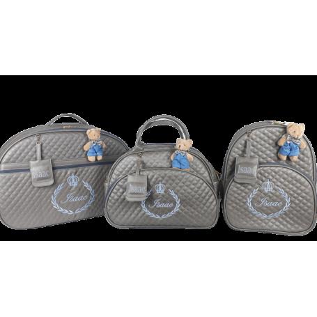 Kit Mala Maternidade + Bolsa G + Mochila G Cinza c/ Bordado Azul Bebê