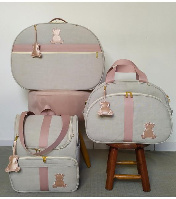 Kit Mala Maternidade + Bolsa G + Mochila Alça 2 em 1 Linho Bege C/ Fitas de algodão Rose