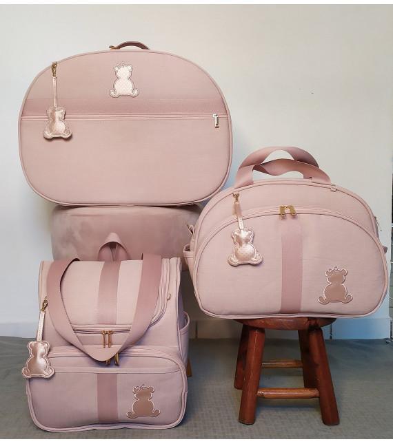 Kit Mala Maternidade + Bolsa G + Mochila Alça 2 em 1 Linho Rose C/ Fitas de algodão Rose