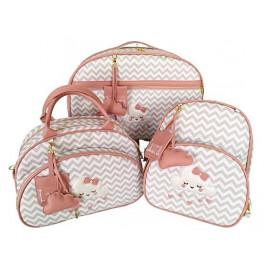 Kit Mala Maternidade + Bolsa G + Mochila G Chevron Cinza c/ Detalhes Goiaba