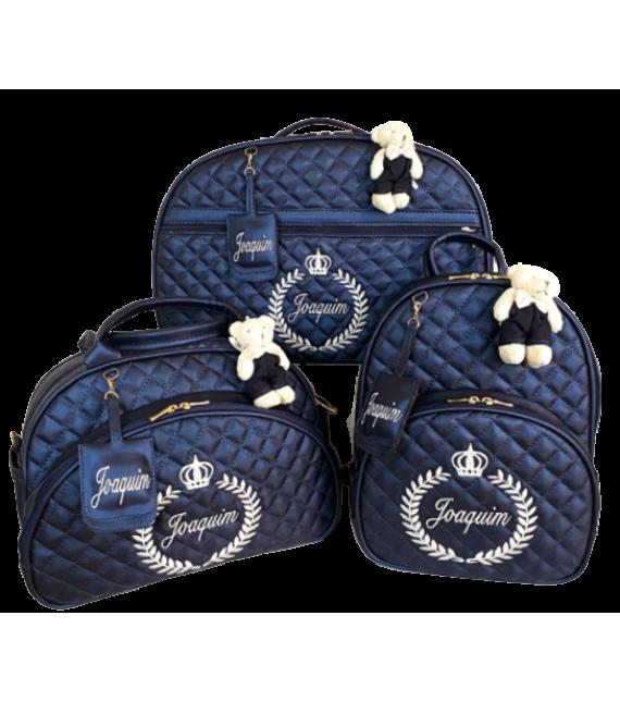 Kit Mala Maternidade + Bolsa G + Mochila G Azul Marinho c/ Bordado Bege Claro