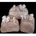 Kit Mala Maternidade + Bolsa G + Mochila G Rosé Metalizada de Listras