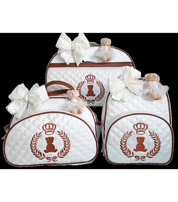 Kit Mala Maternidade + Bolsa G + Mochila G Bege Claro c/ Detalhes Caramelo