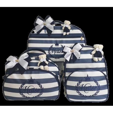 Kit Mala Maternidade + Bolsa G + Mochila G de Listras Azul Acetinado