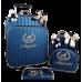 Kit Mala de Rodinhas 360 Graus G + Mochila G Azul Marinho Metalizado de Listras