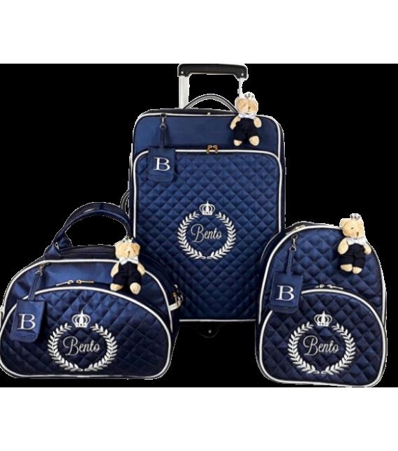 Kit Mala de Rodinhas G 360 graus + Bolsa G + Mochila G Azul Marinho c/ Detalhes Caramelo