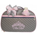 Mala Maternidade Cinza c/ Detalhes Rosa