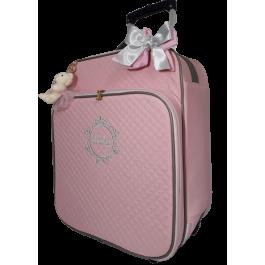 Mala de Rodinhas G 360 Graus Rosa c/ Detalhes Cinza