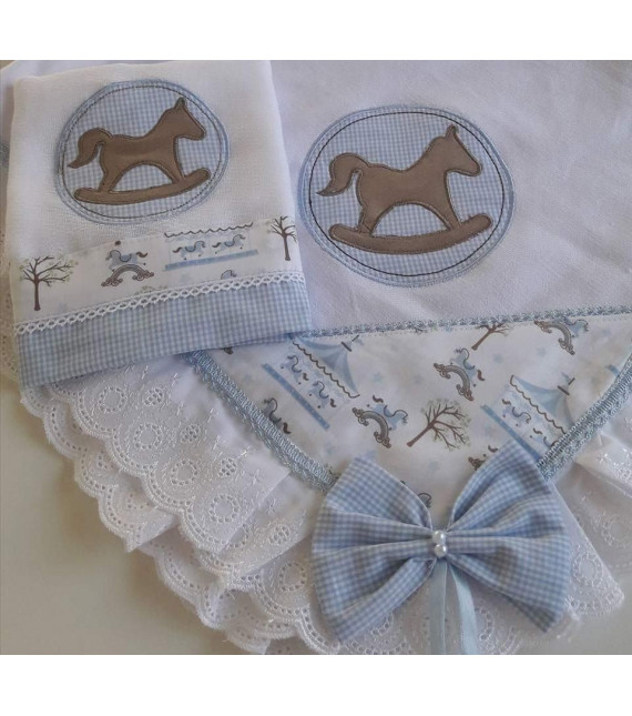 Kit Manta + Fralda de Boca Cavalo Balanço Azul Bebê