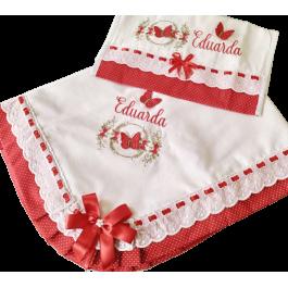 Kit Manta + Fralda de Boca Borboletas Vermelho Poa