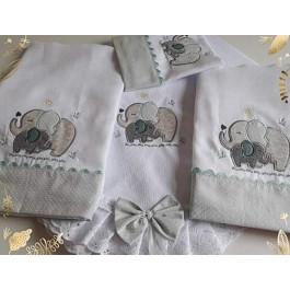 Kit Manta+Fralda de Ombro+Fralda de Boca+Toalha Fralda  Elefante Baby Verde Poá