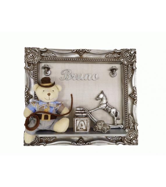 Porta Maternidade Prata Envelhecido Urso Cowboy 33x38