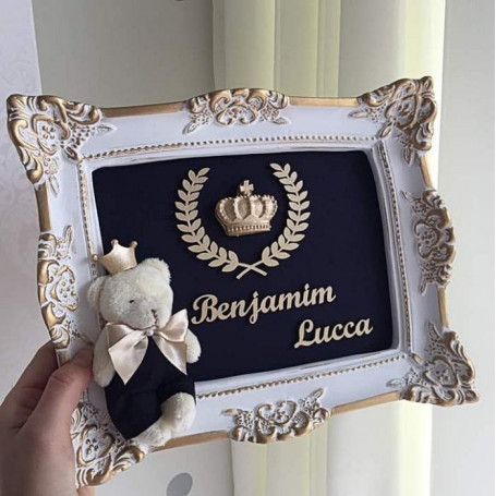 Porta Maternidade Branco e Dourado Urso Príncipe e Coroa 23x28