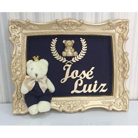 Porta Maternidade Urso Príncipe Fundo Azul Marinho 23x28Cm
