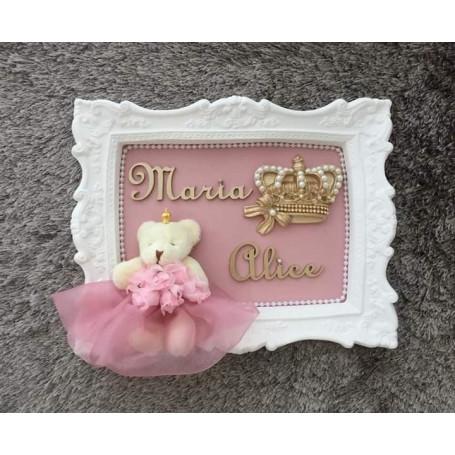 Porta Maternidade Branco Ursa Princesa c/ Coroa de Pérolas 23x28Cm