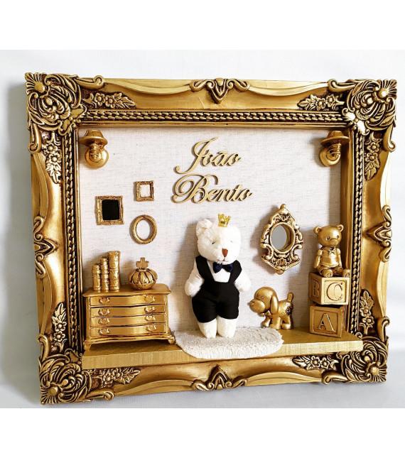 Porta Maternidade Ouro Envelhecido Urso e Móveis 33x38