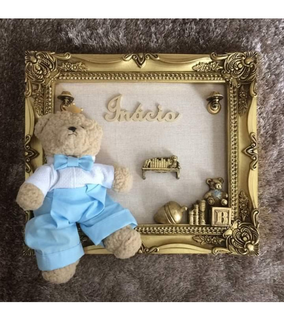 Porta Maternidade Ouro Envelhecido Urso Grande 33x38