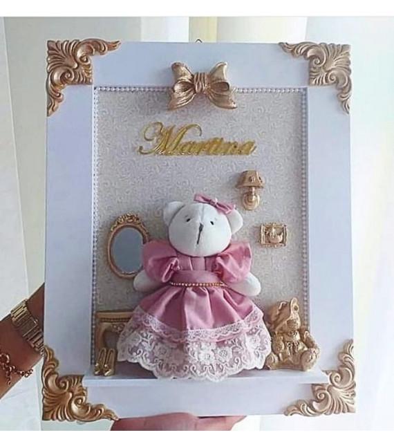 Porta Maternidade MDF Branco Ursinha 35x40