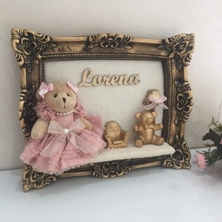 Porta Maternidade Ouro Envelhecido Ursinha 23x28